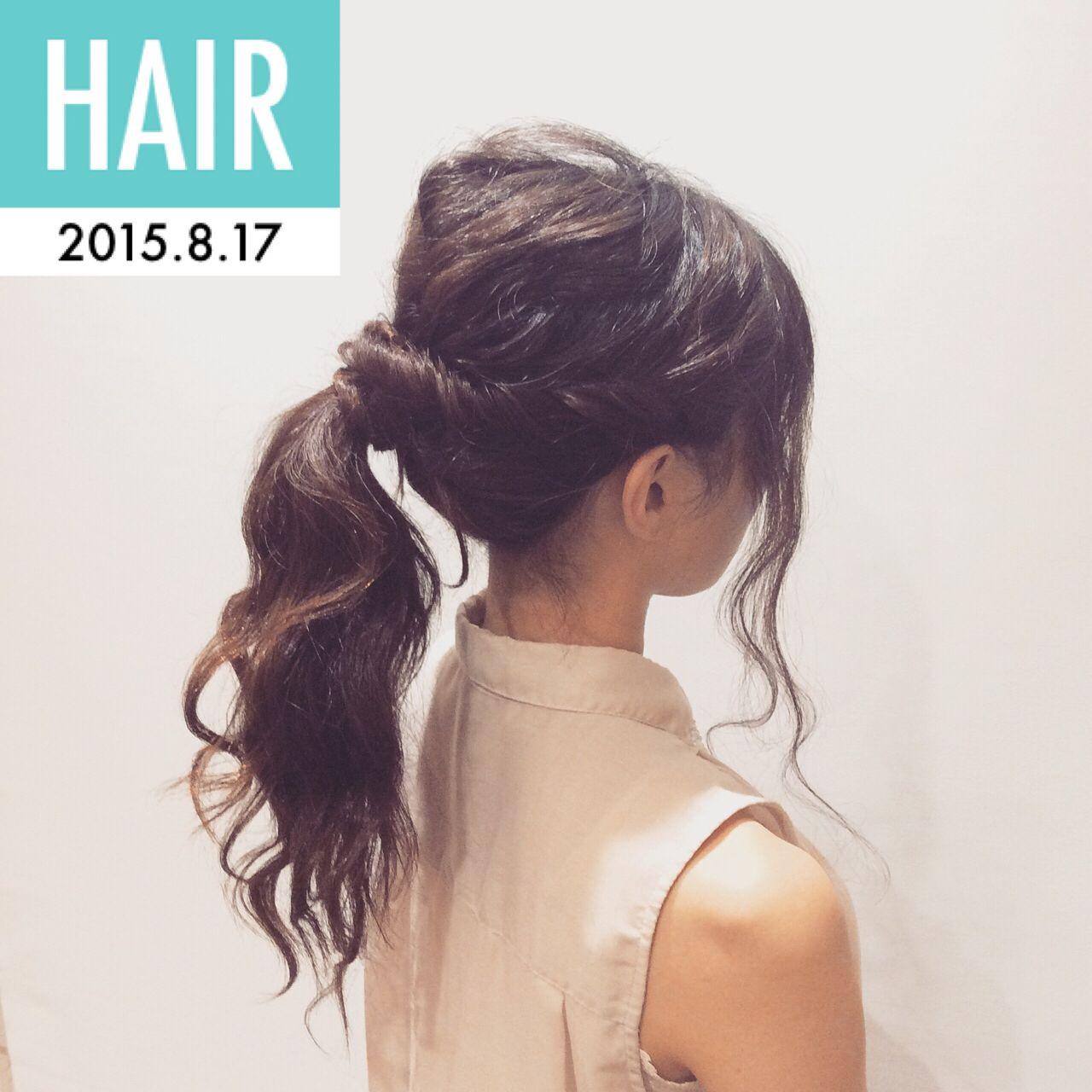 ヘアアレンジ セミロング ナチュラル ポニーテール ヘアスタイルや髪型の写真・画像