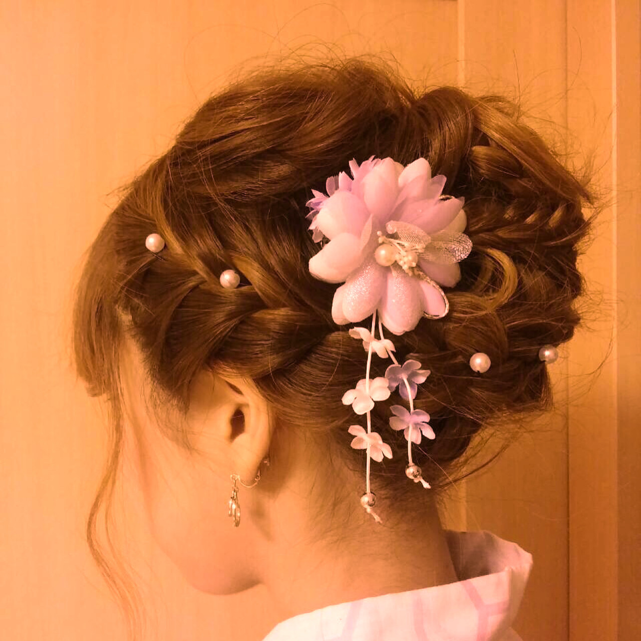 ラフ 編み込み ヘアアレンジ 和装 ヘアスタイルや髪型の写真・画像