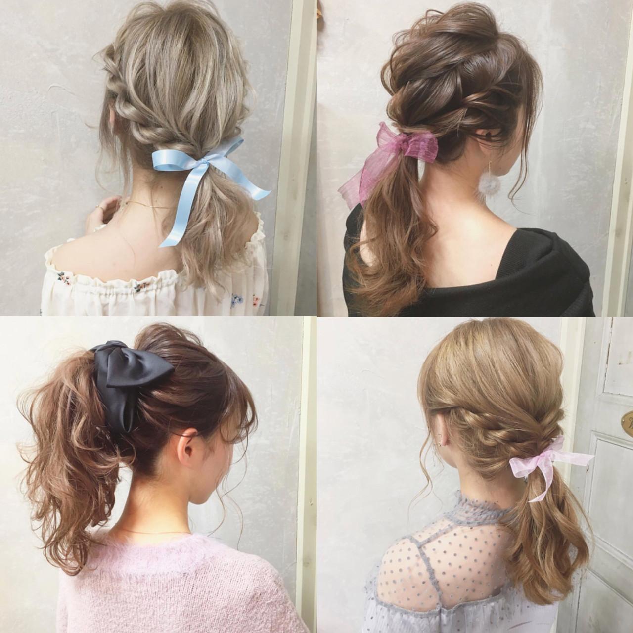ポニーテール 女子会 デート ロング ヘアスタイルや髪型の写真・画像