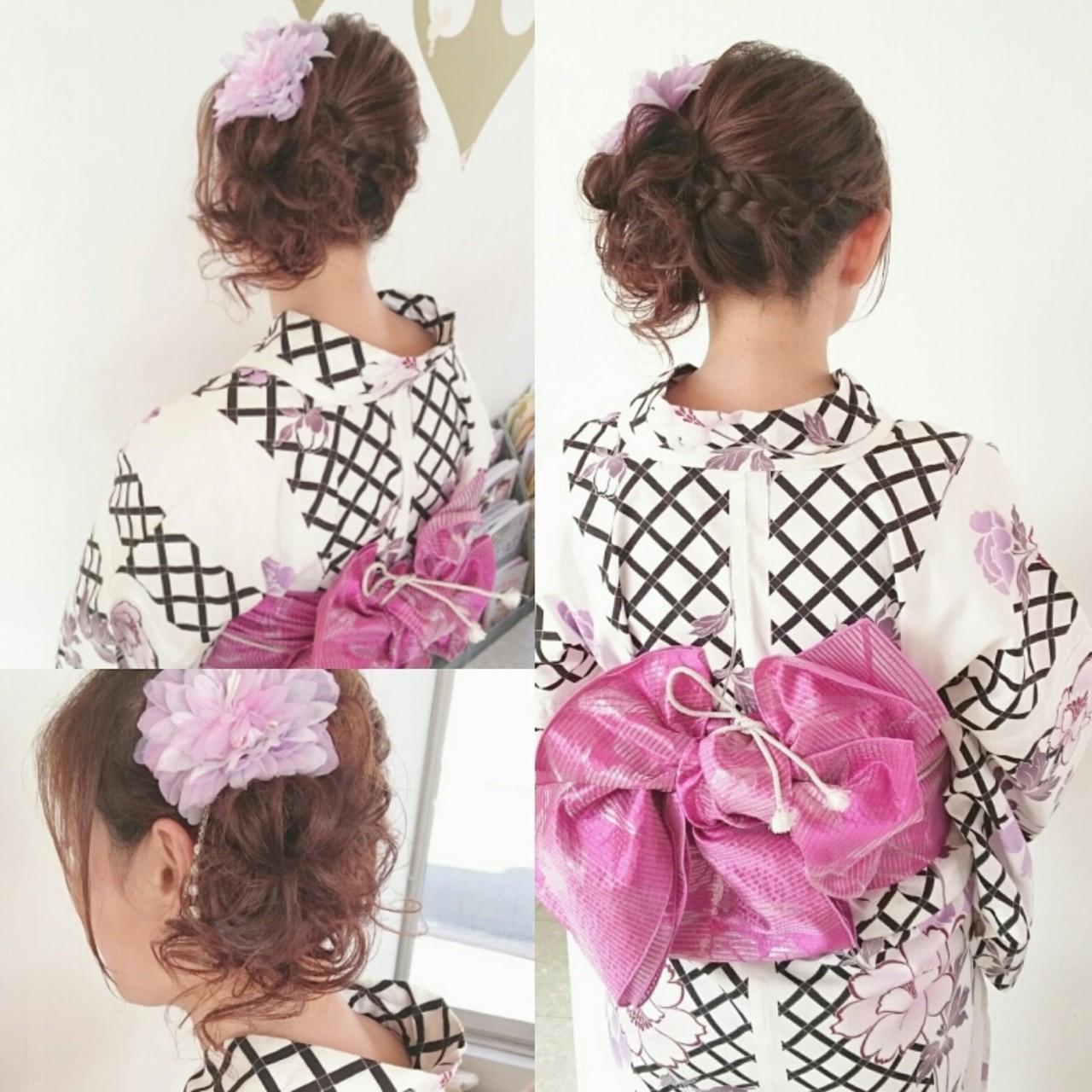お祭り 和装 夏 三つ編み ヘアスタイルや髪型の写真・画像