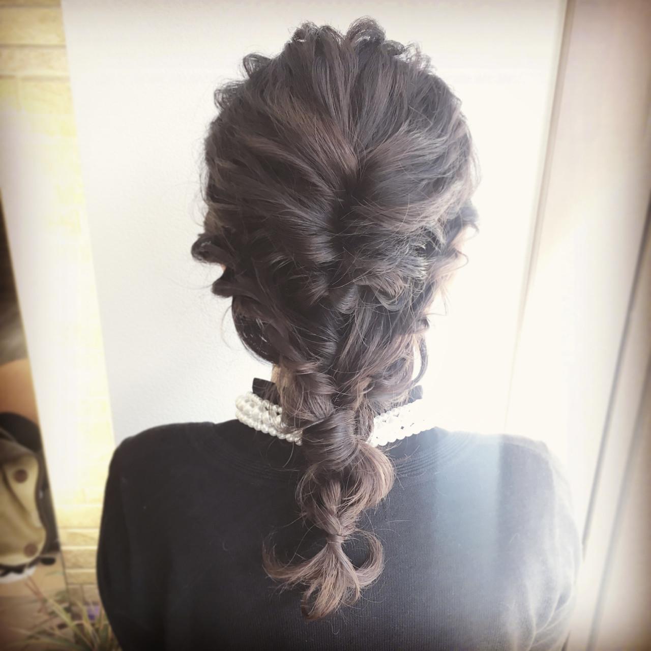 フェミニン ヘアアレンジ セミロング ディズニー ヘアスタイルや髪型の写真・画像