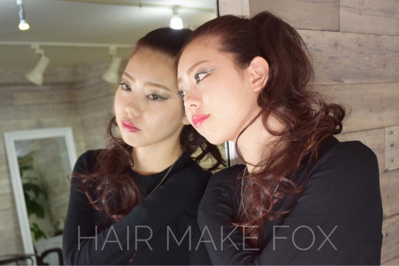 ロング エレガント 上品 レッド ヘアスタイルや髪型の写真・画像