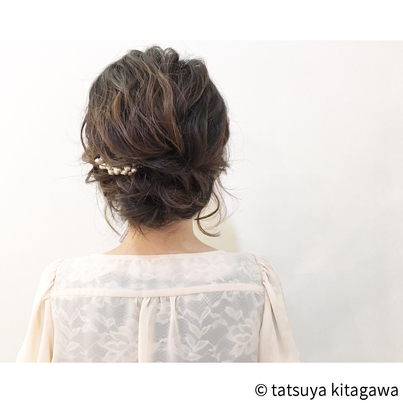 ミディアム 上品 エレガント 二次会 ヘアスタイルや髪型の写真・画像