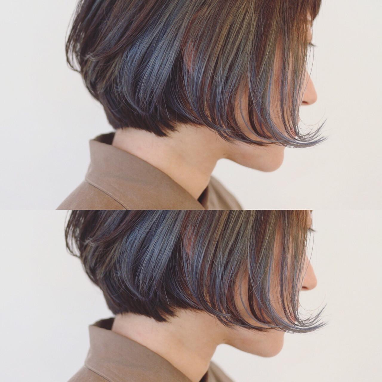 インナーカラー モード ボブ 冬 ヘアスタイルや髪型の写真・画像