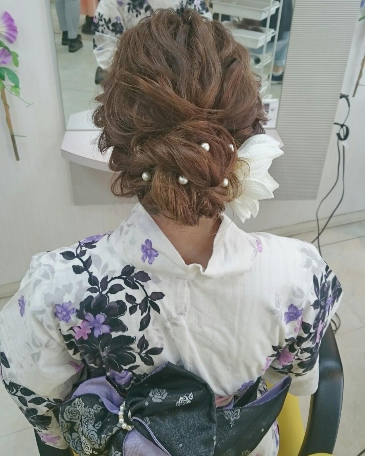 和装 ロング ゆるふわ 三つ編み ヘアスタイルや髪型の写真・画像