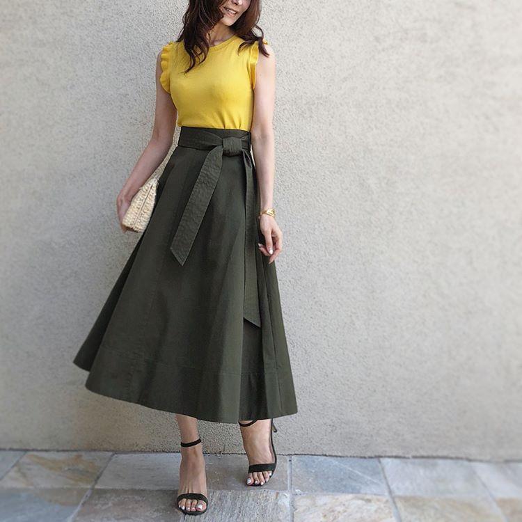 太目ベルトスカートでレトロな雰囲気に 出典:akko3839