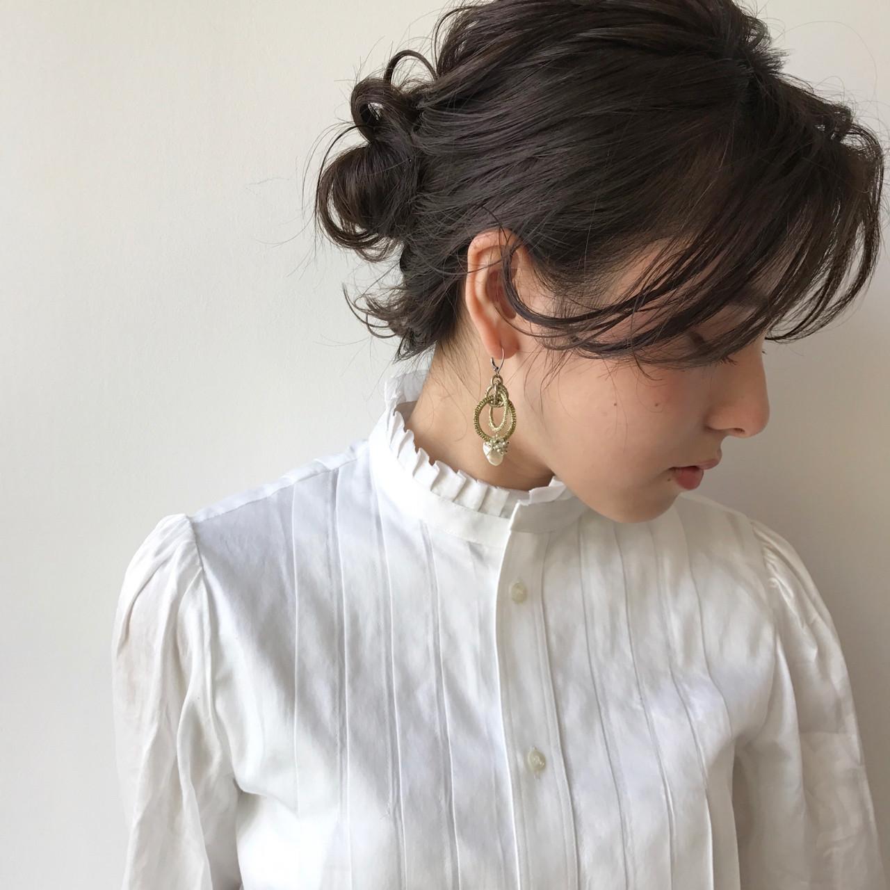簡単ヘアアレンジ ナチュラル ハーフアップ フリンジバング ヘアスタイルや髪型の写真・画像