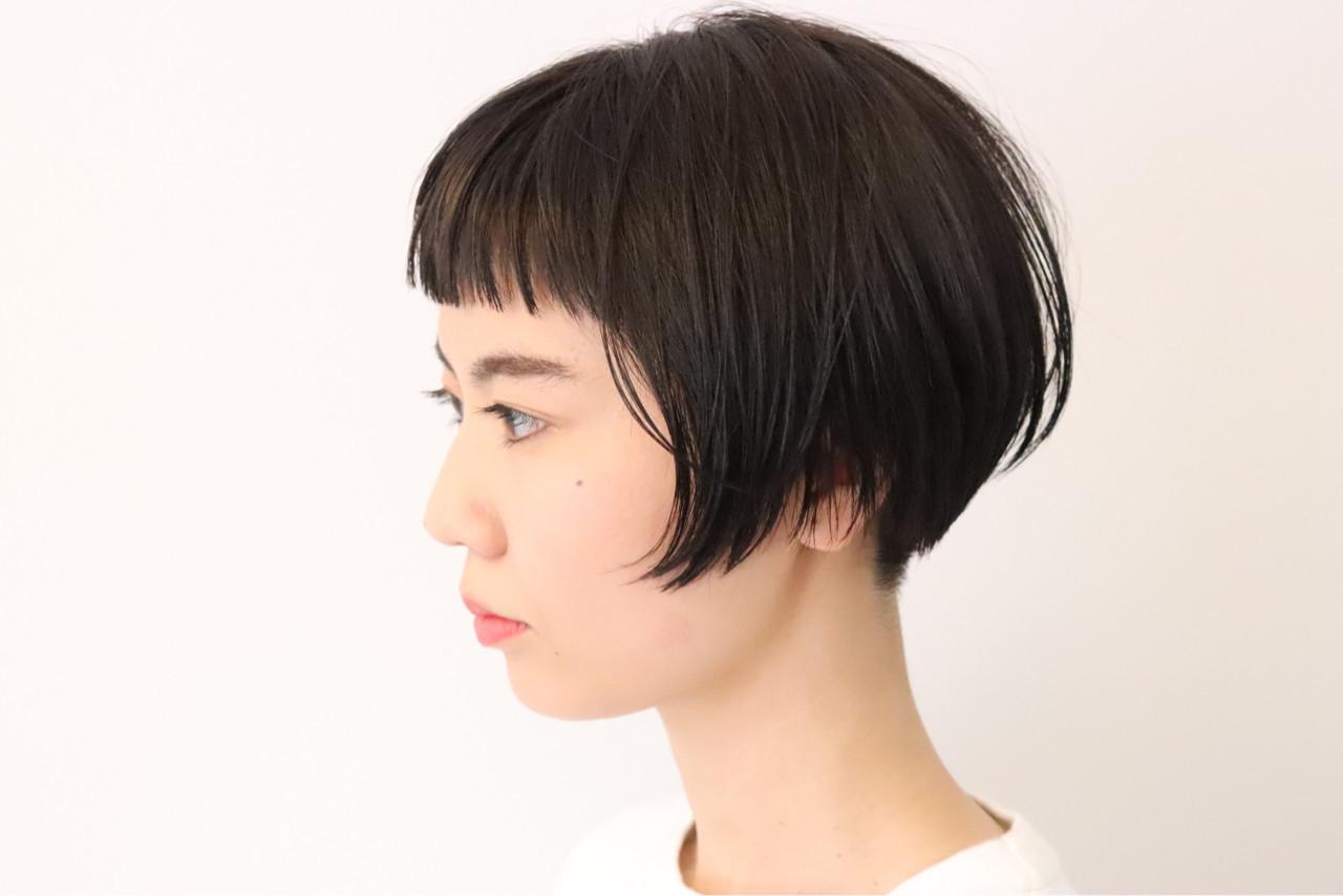 大人女子 モード ショート ショートバング ヘアスタイルや髪型の写真・画像