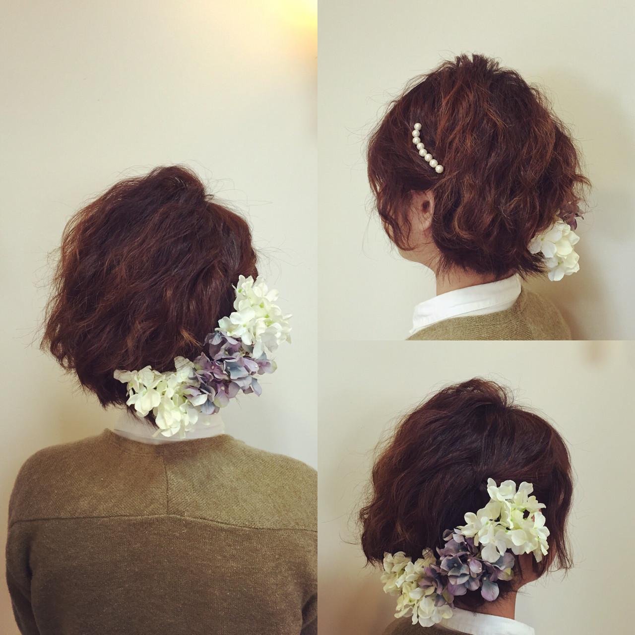 ショート ヘアアレンジ ブライダル 結婚式 ヘアスタイルや髪型の写真・画像