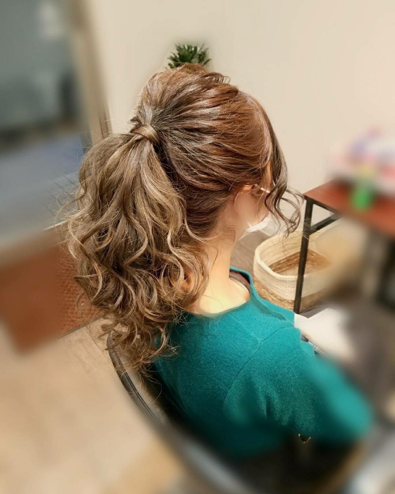 ナチュラル ポニーテール セミロング ヘアスタイルや髪型の写真・画像