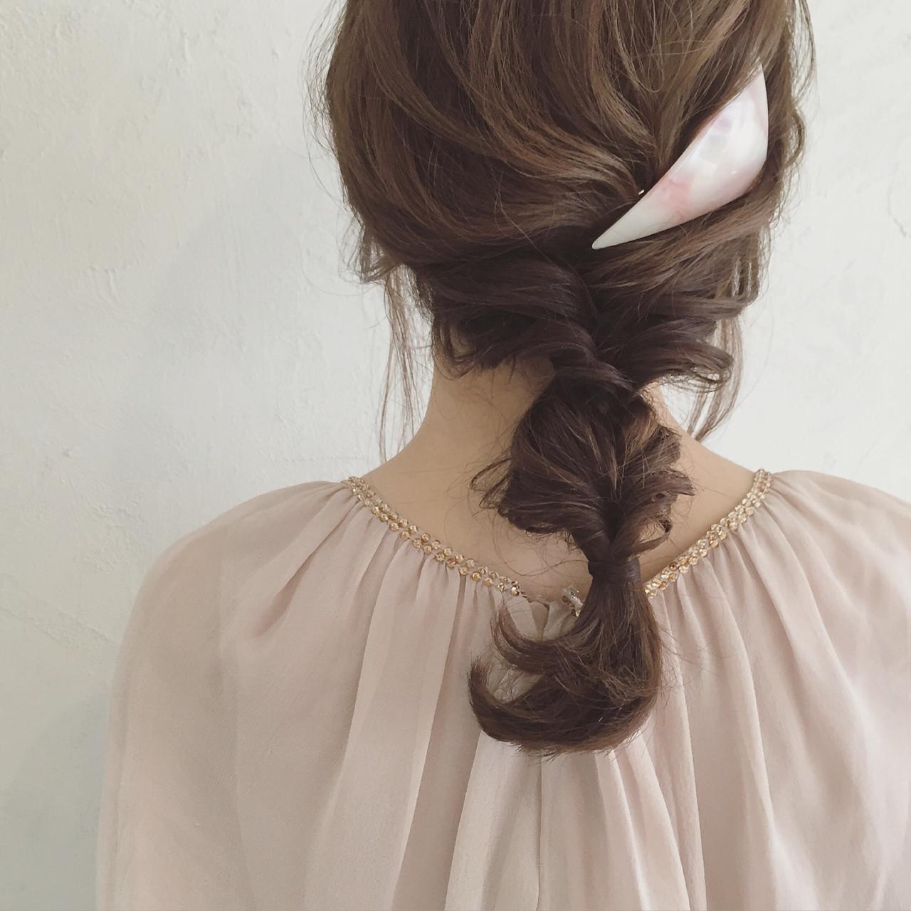 セミロング ヘアアレンジ ショート 三つ編み ヘアスタイルや髪型の写真・画像