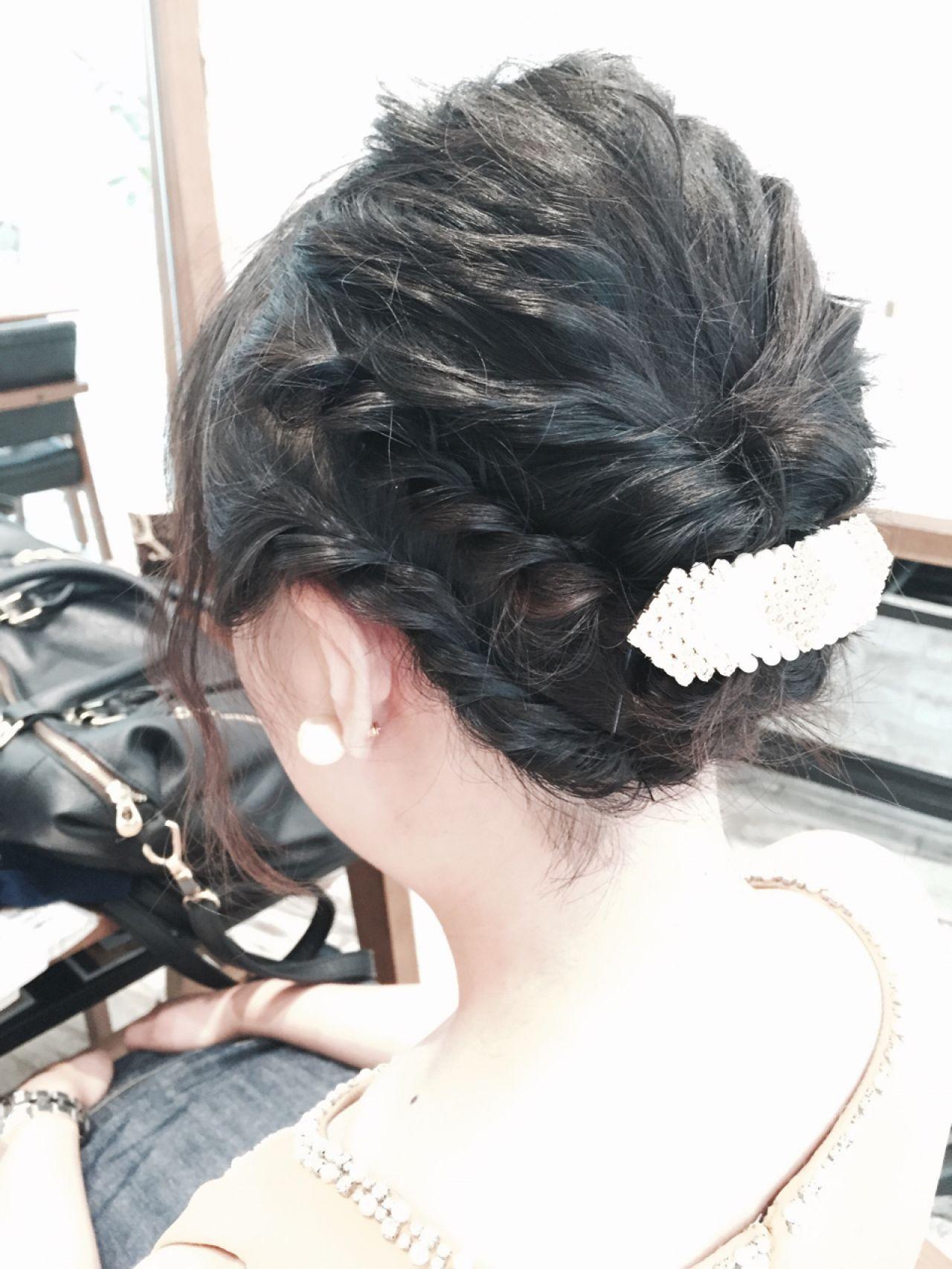 コンサバ 結婚式 ショート ヘアアレンジ ヘアスタイルや髪型の写真・画像