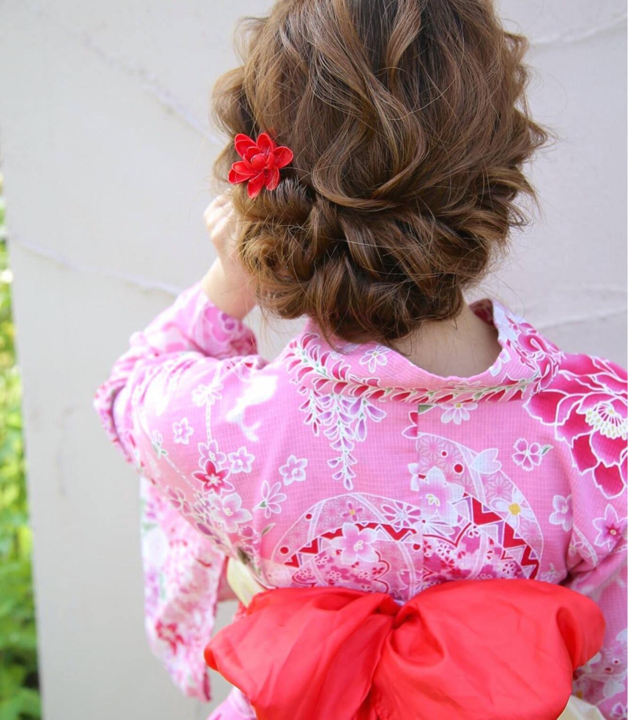 ロング フェミニン 夏 花火大会 ヘアスタイルや髪型の写真・画像