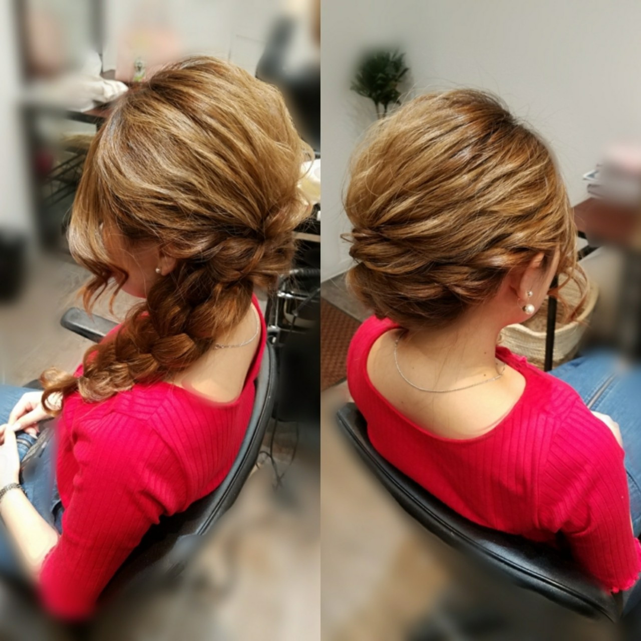 編み込み ロング ガーリー ヘアスタイルや髪型の写真・画像