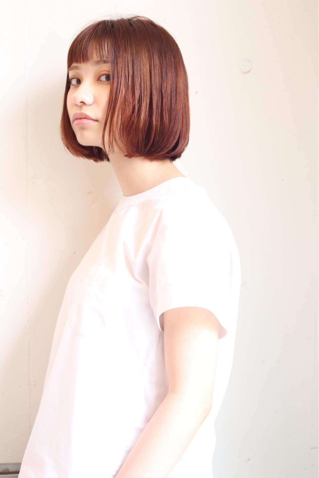 オレンジベージュ レッド ボブ 大人女子 ヘアスタイルや髪型の写真・画像