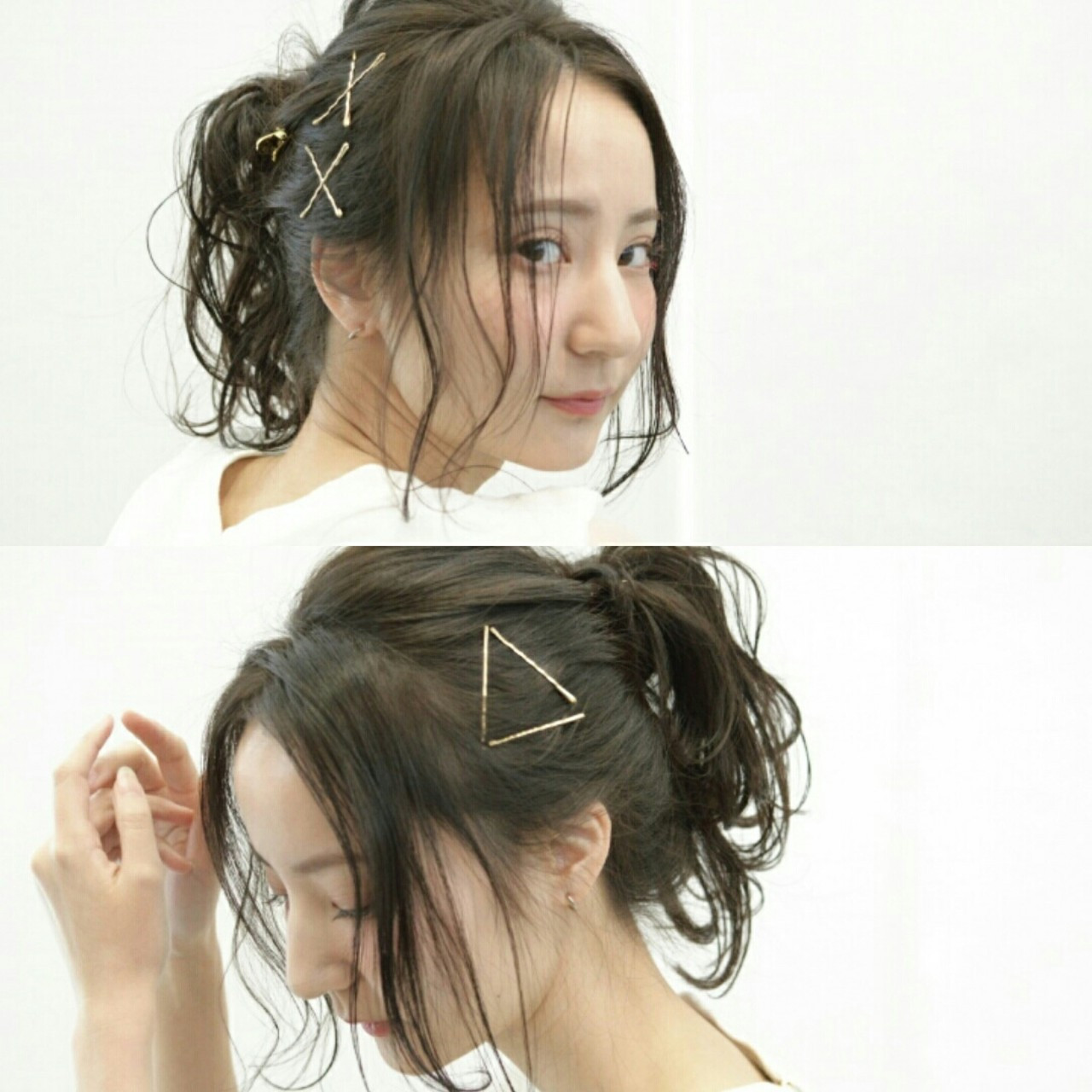 前髪あり ヘアアクセ メッシーバン ヘアピン ヘアスタイルや髪型の写真・画像