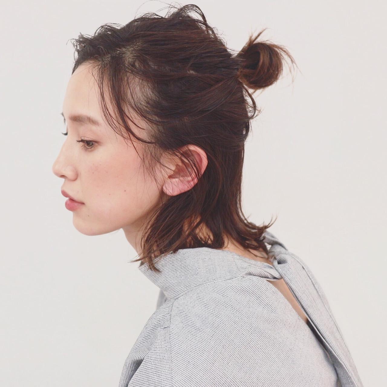 前髪なしでスッキリお団子ハーフアップ 三好 佳奈美  Baco.(バコ)