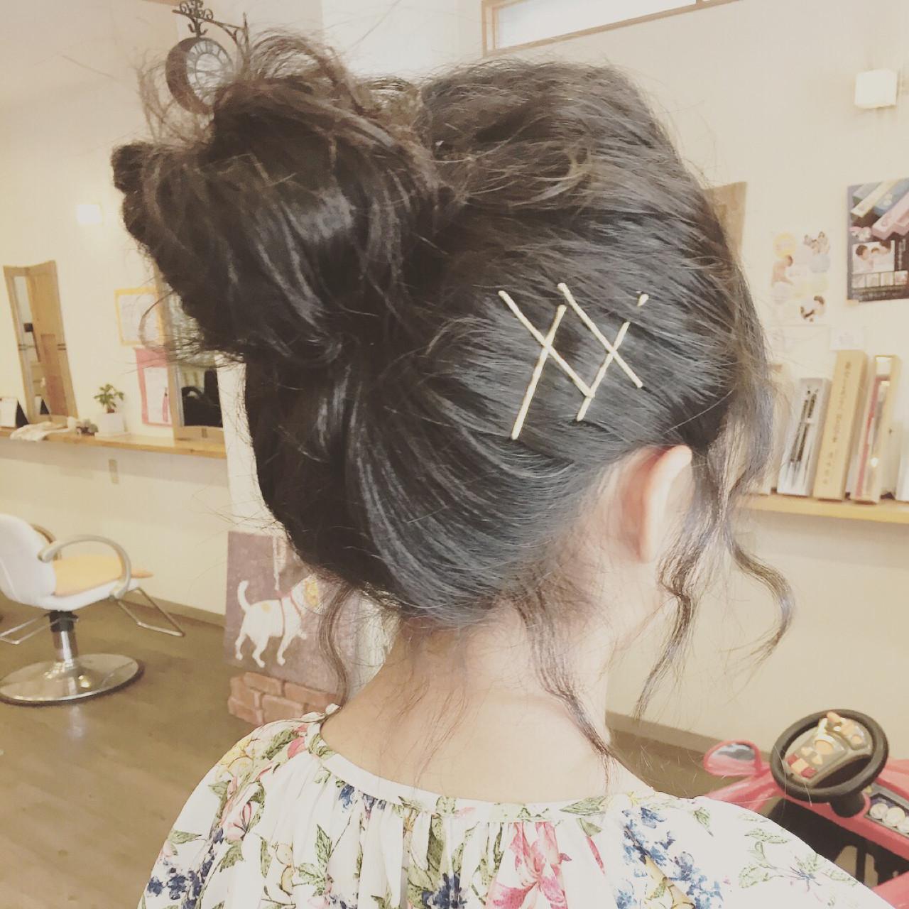 黒髪ロングは、アップで華やかに♪ 出典:manami kiyokuni \こあふーるのの