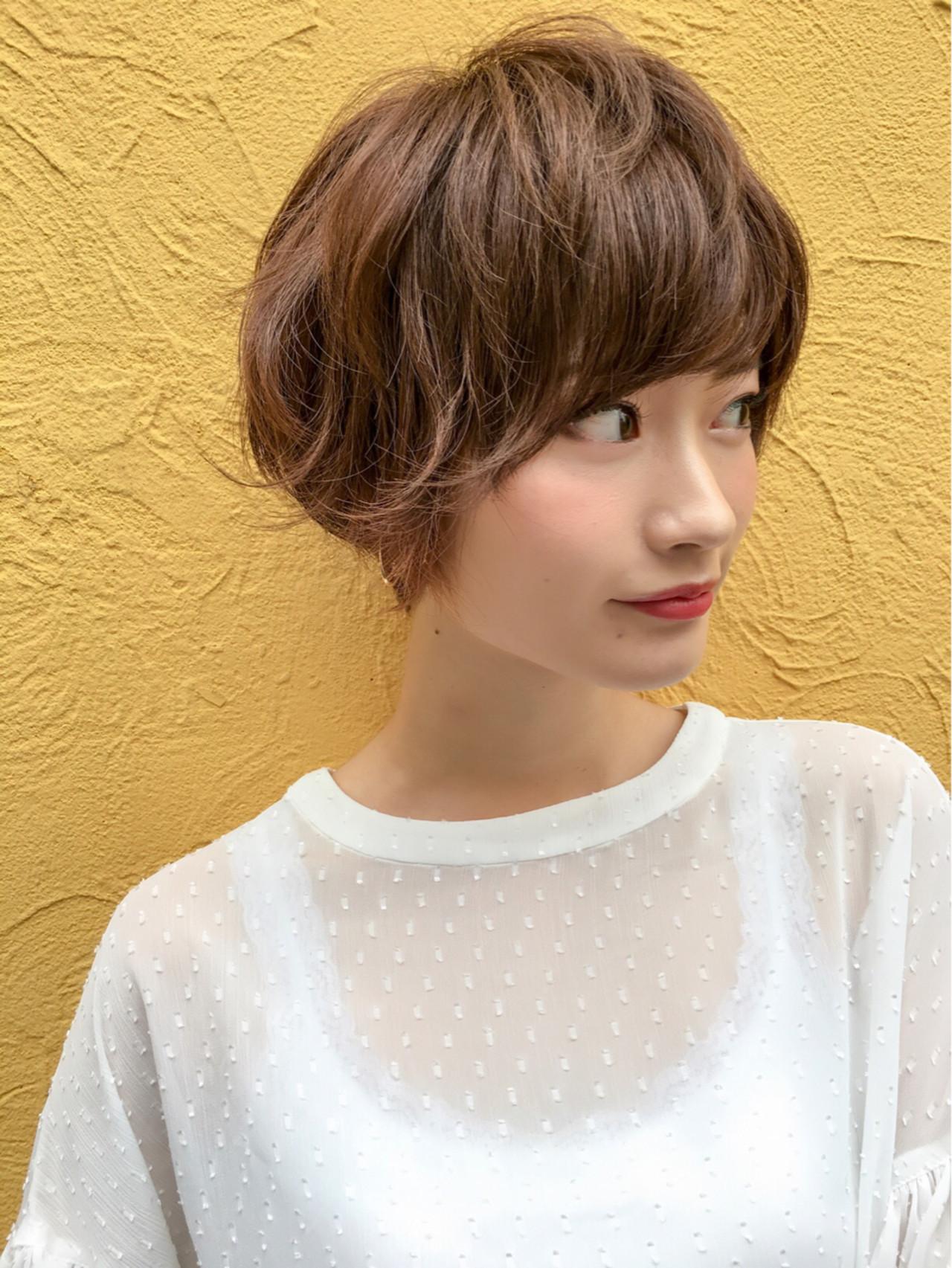 小顔 ショートボブ 色気 ナチュラル ヘアスタイルや髪型の写真・画像