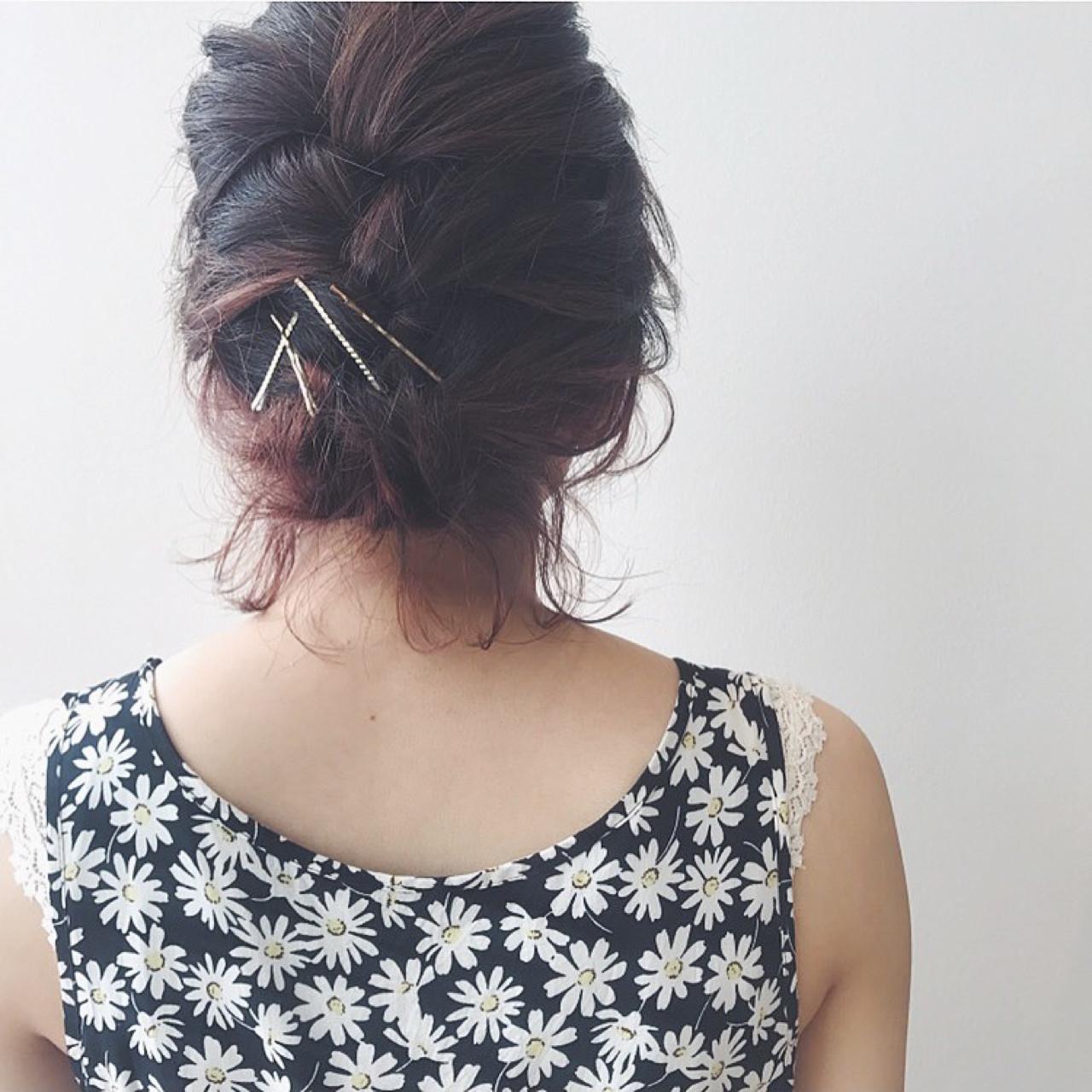 夏 ヘアアレンジ 涼しげ フェミニン ヘアスタイルや髪型の写真・画像