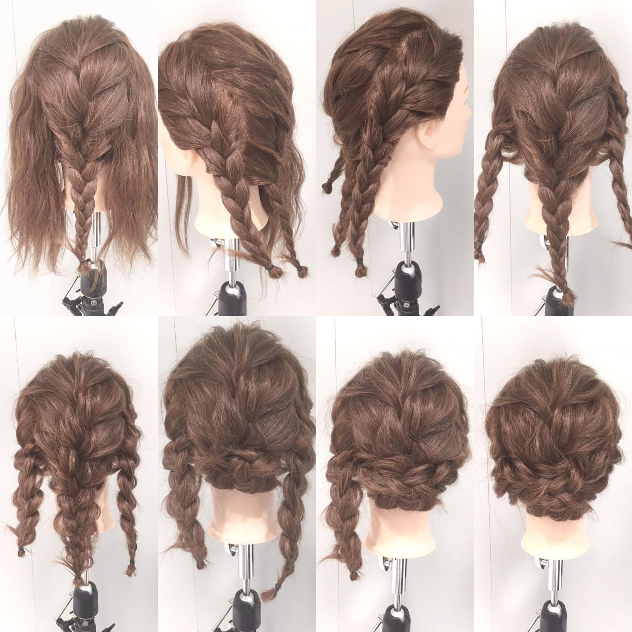 編み込み ヘアアレンジ セミロング 夏 ヘアスタイルや髪型の写真・画像