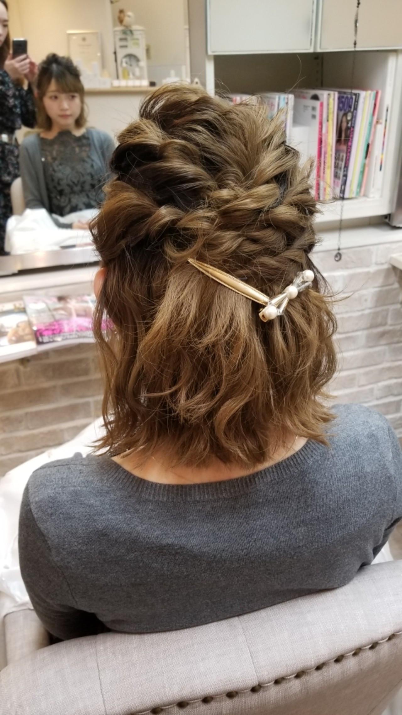 ハーフアップ 結婚式 ガーリー ヘアアレンジ ヘアスタイルや髪型の写真・画像