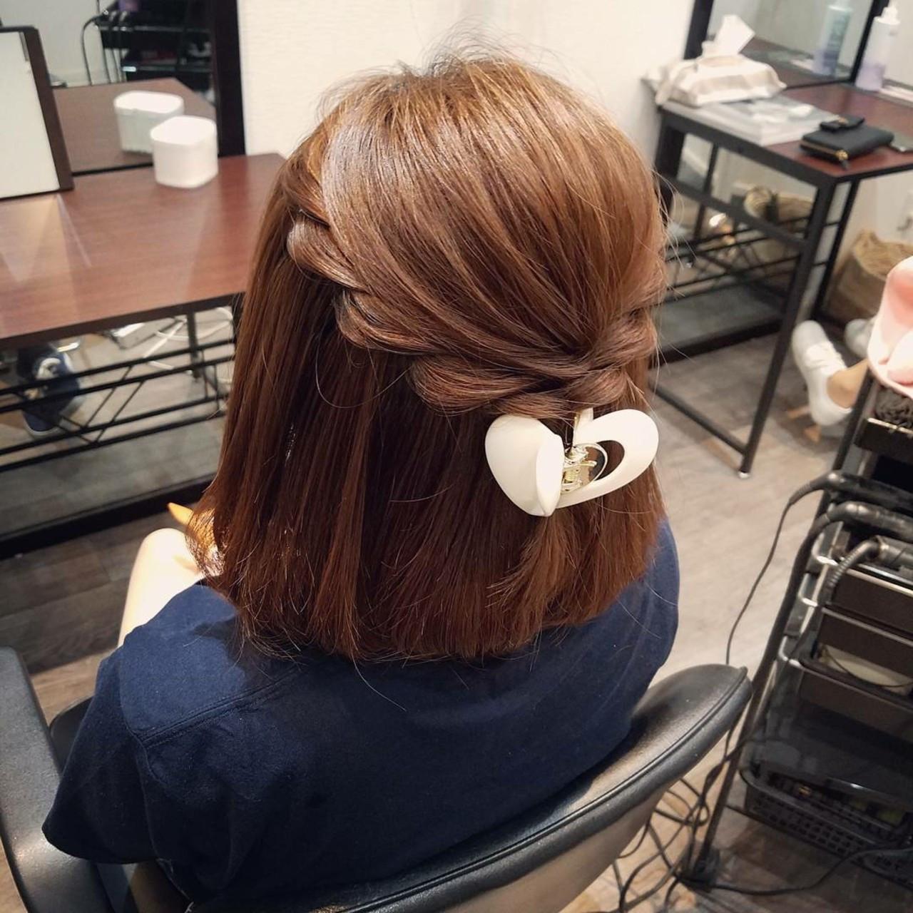 ナチュラル ヘアアレンジ ボブ ハーフアップ ヘアスタイルや髪型の写真・画像