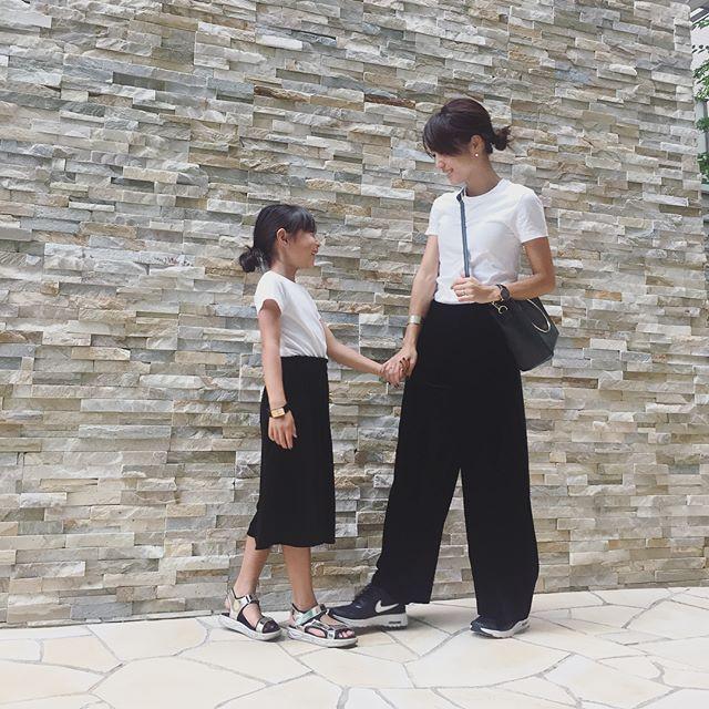 白Tシャツでシンプルなリンクコーデ kusayuu