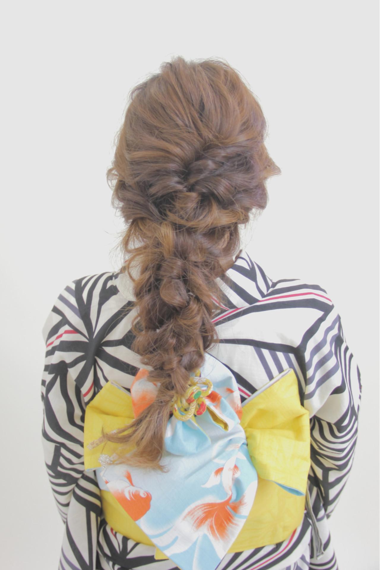 編み込み 和装 ヘアアレンジ ロング ヘアスタイルや髪型の写真・画像