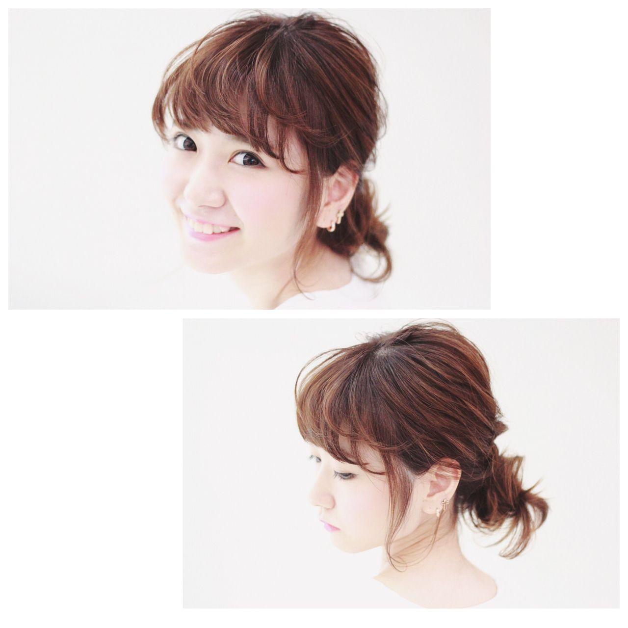 丸顔 卵型 ヘアアレンジ ガーリー ヘアスタイルや髪型の写真・画像