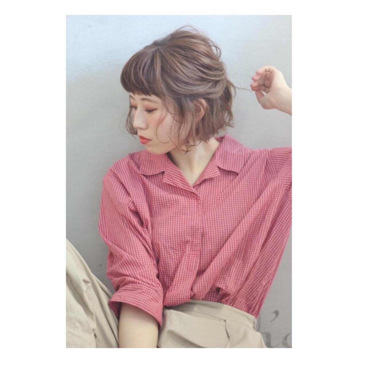 色気 ショート フェミニン ボブ ヘアスタイルや髪型の写真・画像