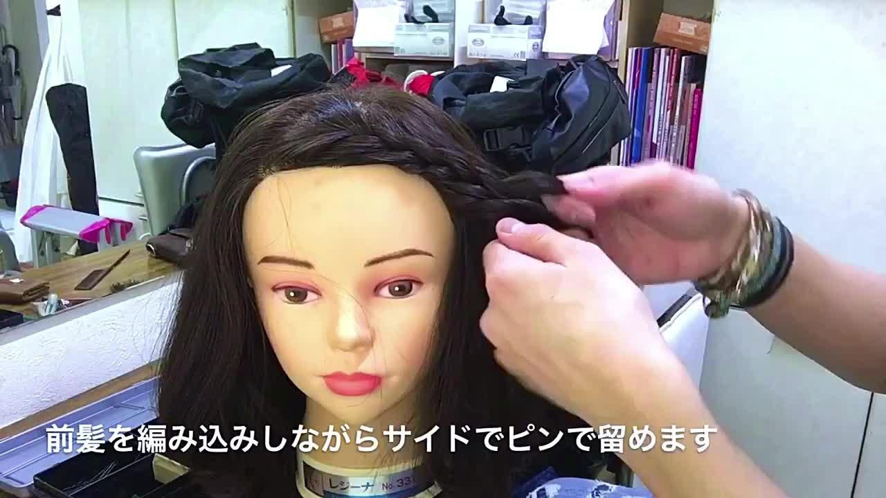 簡単ヘアアレンジ 編み込み 女子会 ナチュラル ヘアスタイルや髪型の写真・画像