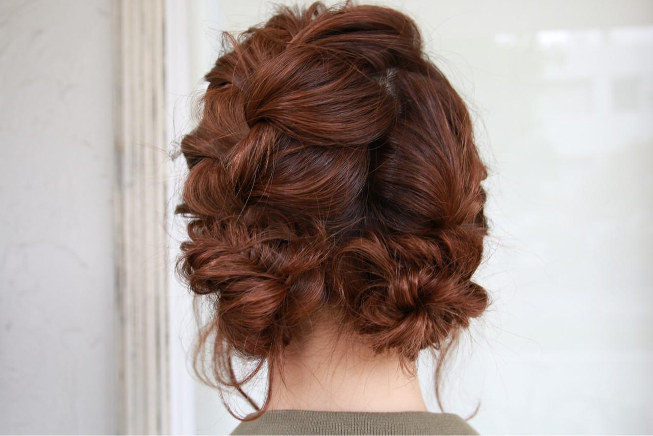 編み込み パーティ 二次会 ヘアアレンジ ヘアスタイルや髪型の写真・画像