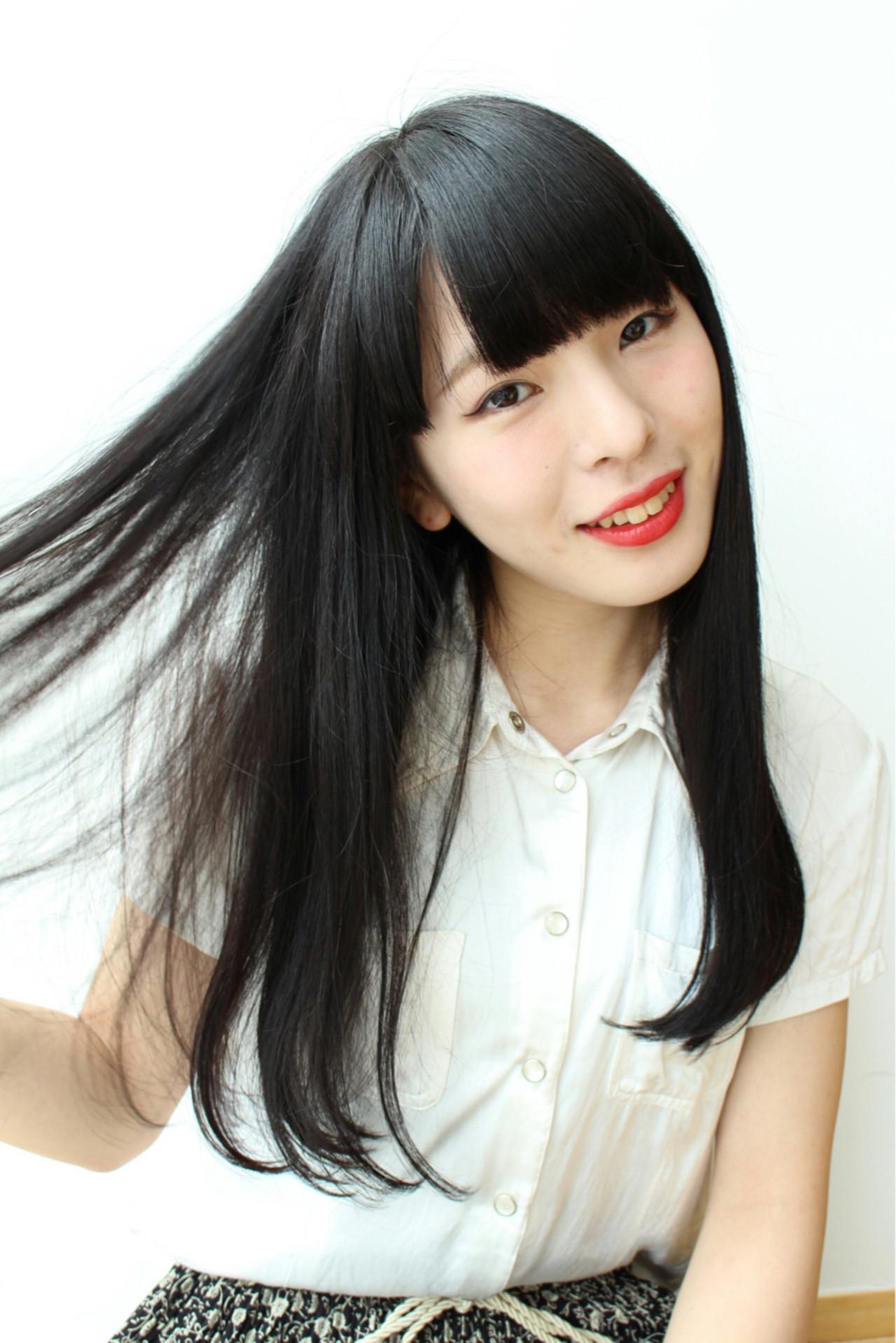 ぱっつんワイドバング×黒髪ロングでミステリアスに 三上 奈巳 | Spin hair 烏丸店