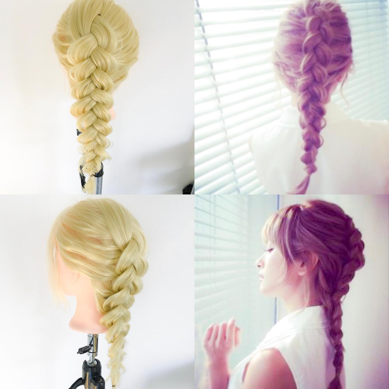 裏編み込み ロング デート 編み込み ヘアスタイルや髪型の写真・画像