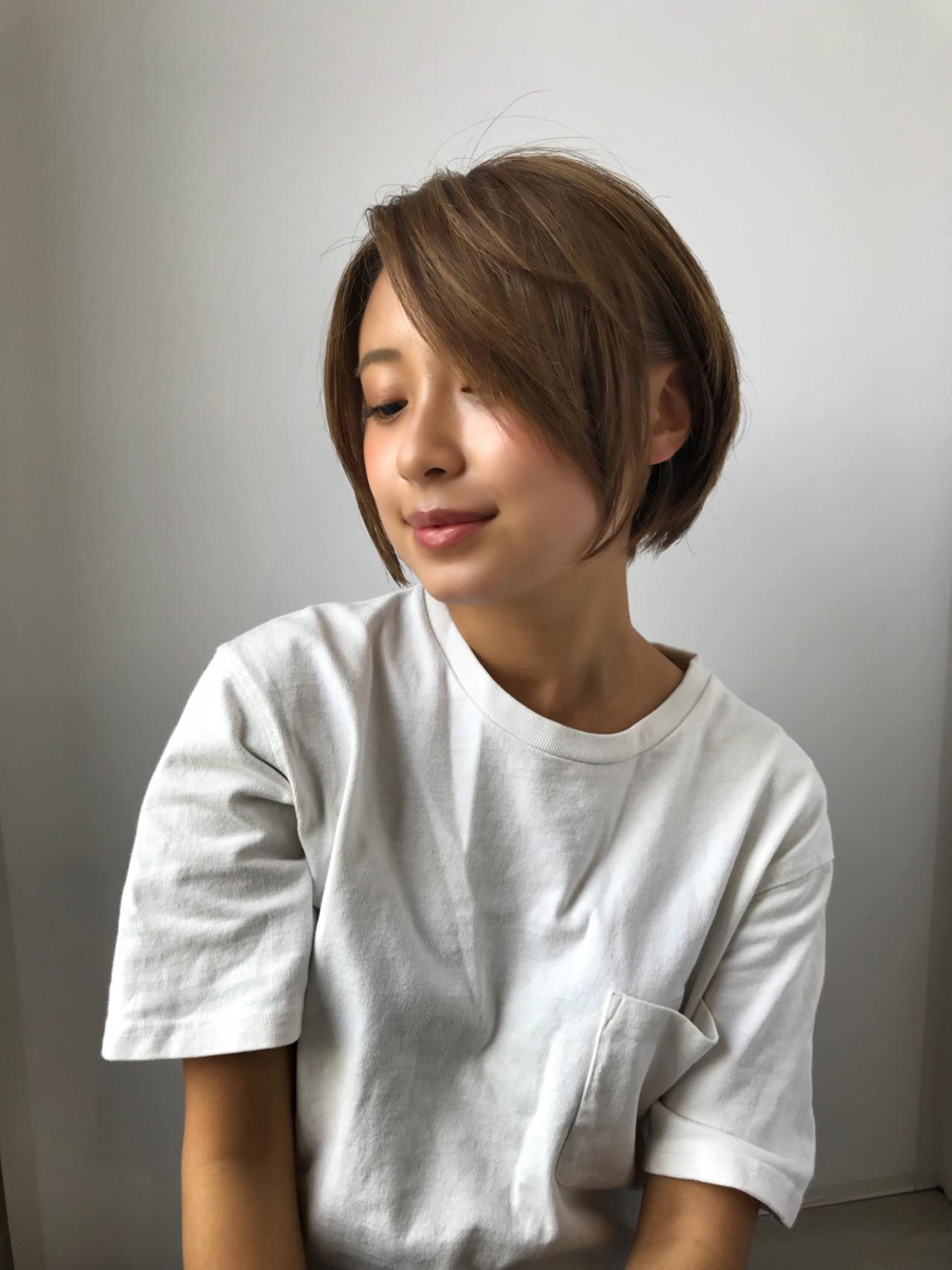 似合わせ 小顔 ショートボブ 大人女子 ヘアスタイルや髪型の写真・画像