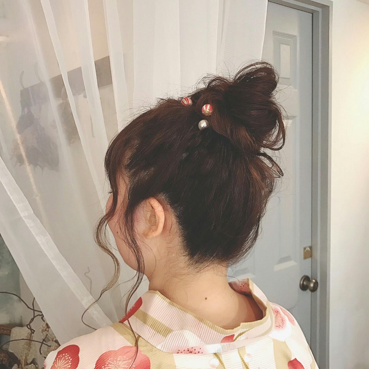ヘアアレンジ お団子 夏 ロング ヘアスタイルや髪型の写真・画像