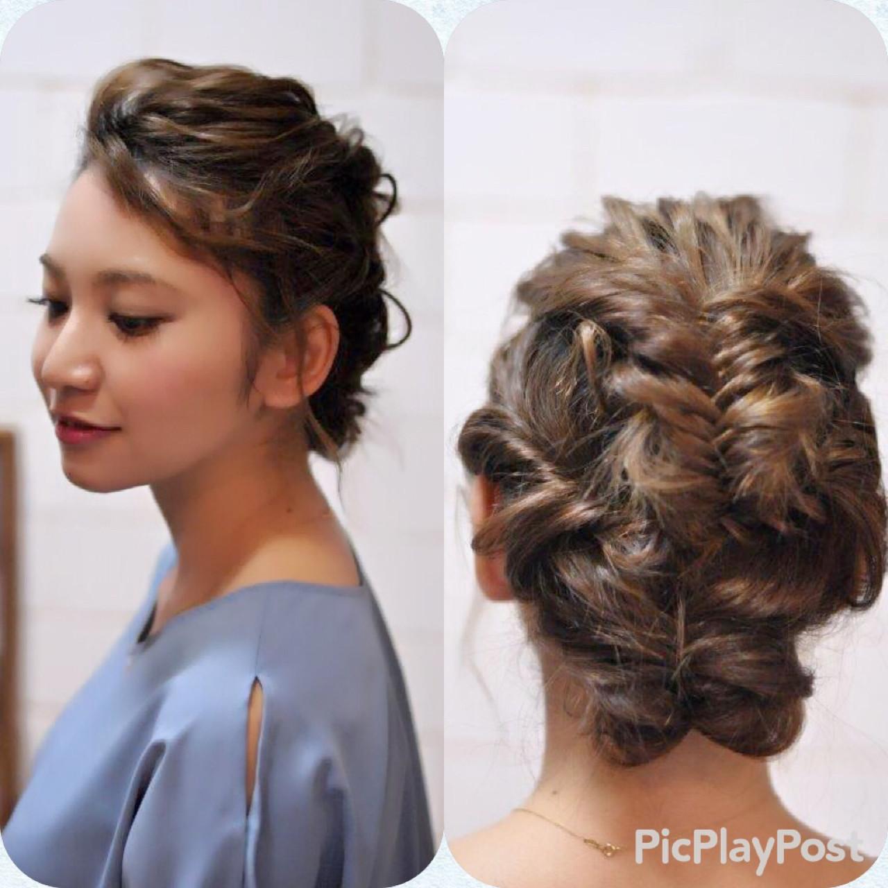 フィッシュボーン ヘアアレンジ デート 結婚式 ヘアスタイルや髪型の写真・画像