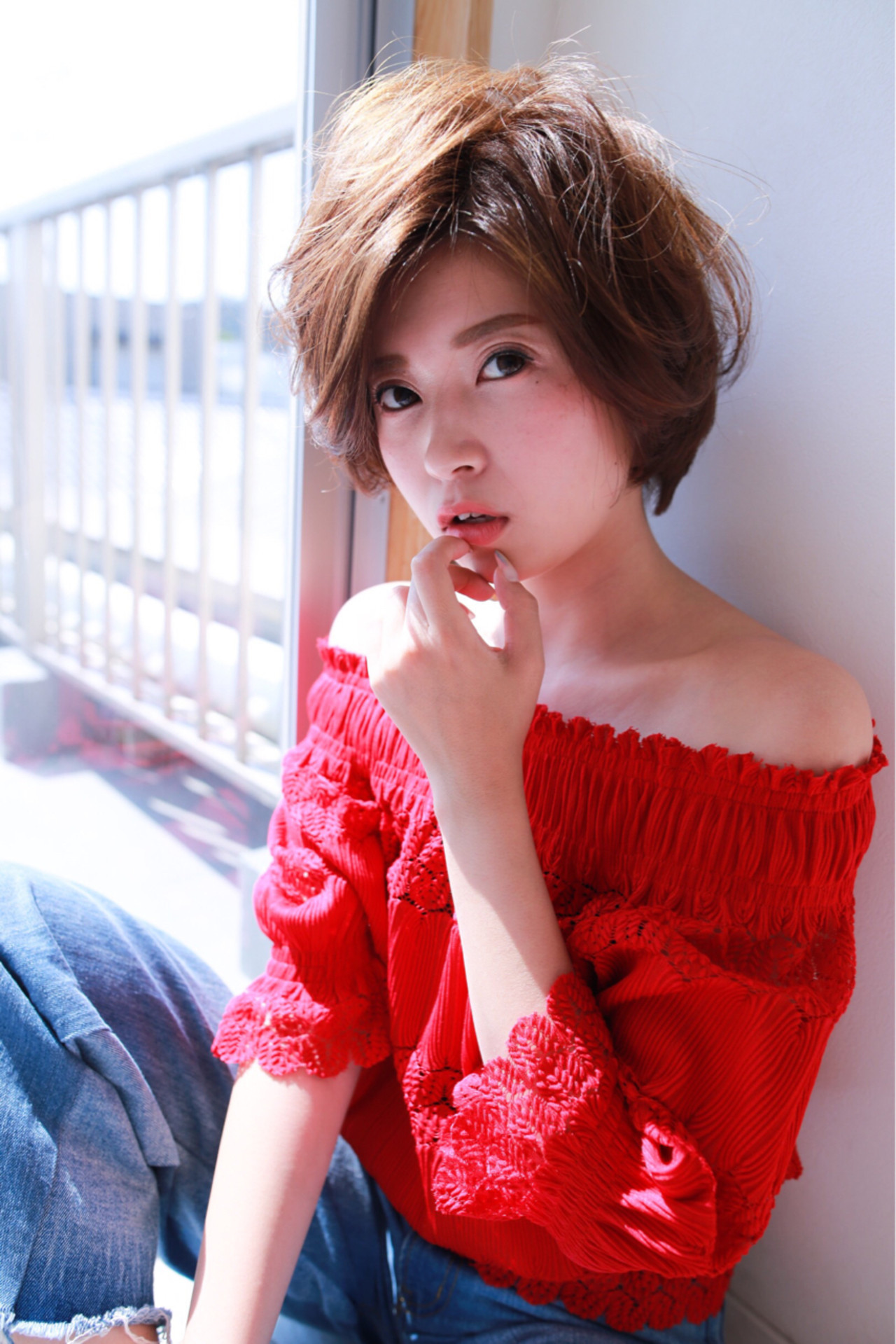 小顔 ショートボブ ショート フェミニン ヘアスタイルや髪型の写真・画像
