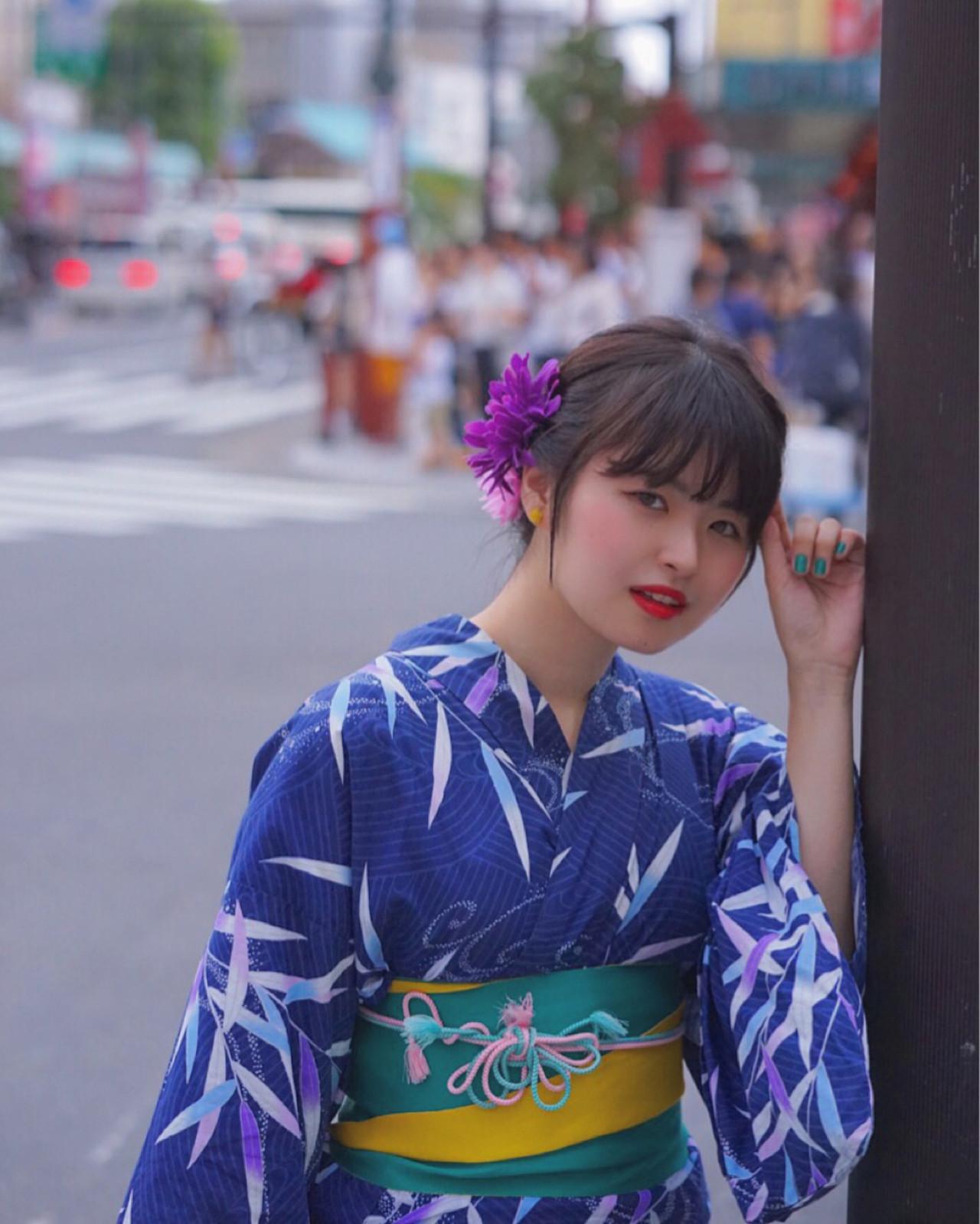和装 ロング 夏 色気 ヘアスタイルや髪型の写真・画像