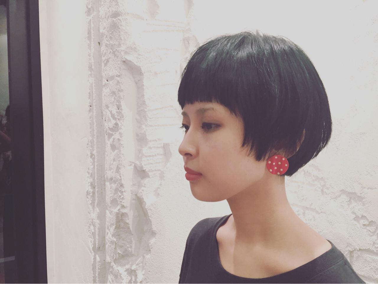 黒髪 ショート モード ショートバング ヘアスタイルや髪型の写真・画像