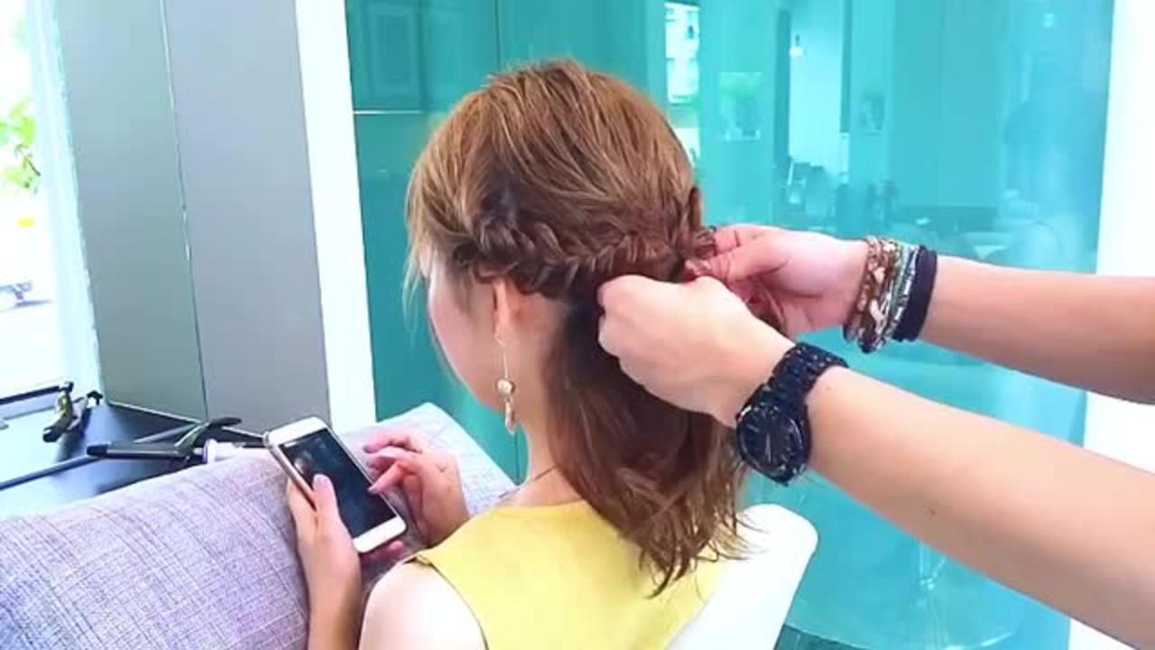 上品 セミロング デート フィッシュボーン ヘアスタイルや髪型の写真・画像