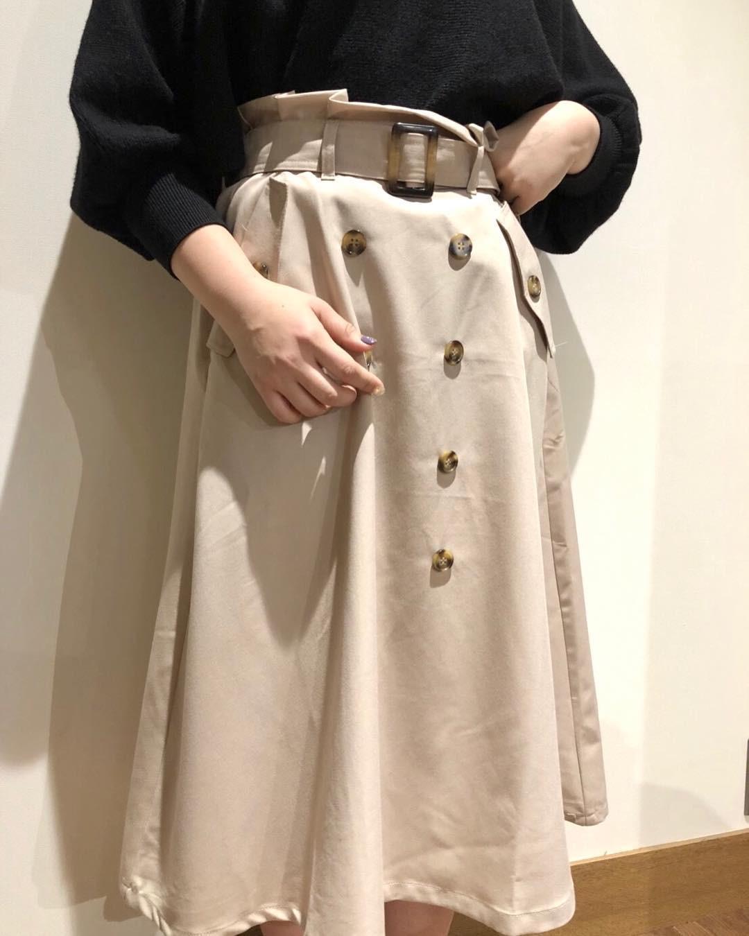 今っぽおしゃれ♡トレンチスカート 出典:pipi_yukapi