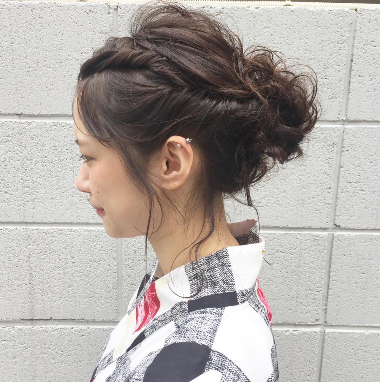 ミディアム 花火大会 ヘアアレンジ ナチュラル ヘアスタイルや髪型の写真・画像