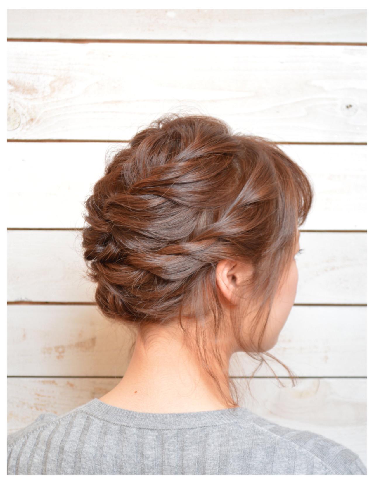 ねじり ヘアアレンジ ショートボブ アップスタイル ヘアスタイルや髪型の写真・画像