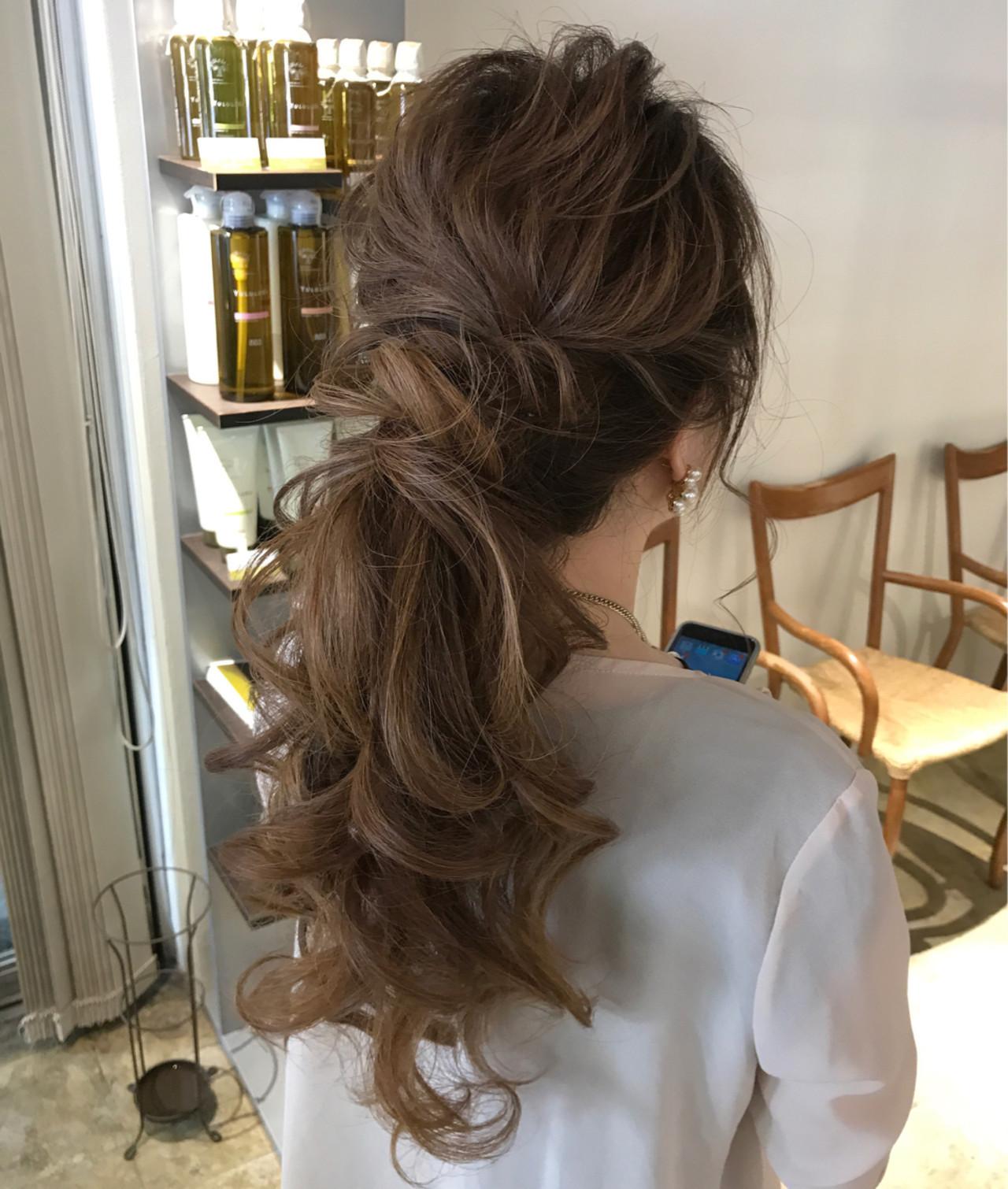 結婚式 ポニーテール 編み込み エレガント ヘアスタイルや髪型の写真・画像