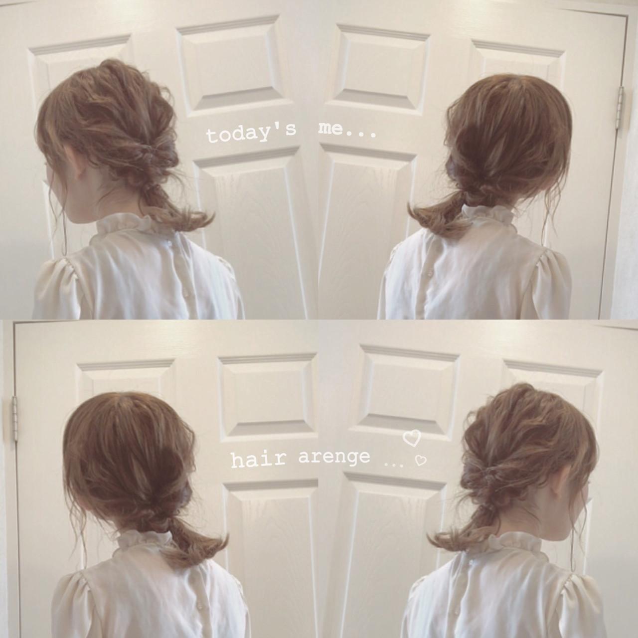 モテ髪 ヘアアレンジ くるりんぱ フェミニン ヘアスタイルや髪型の写真・画像