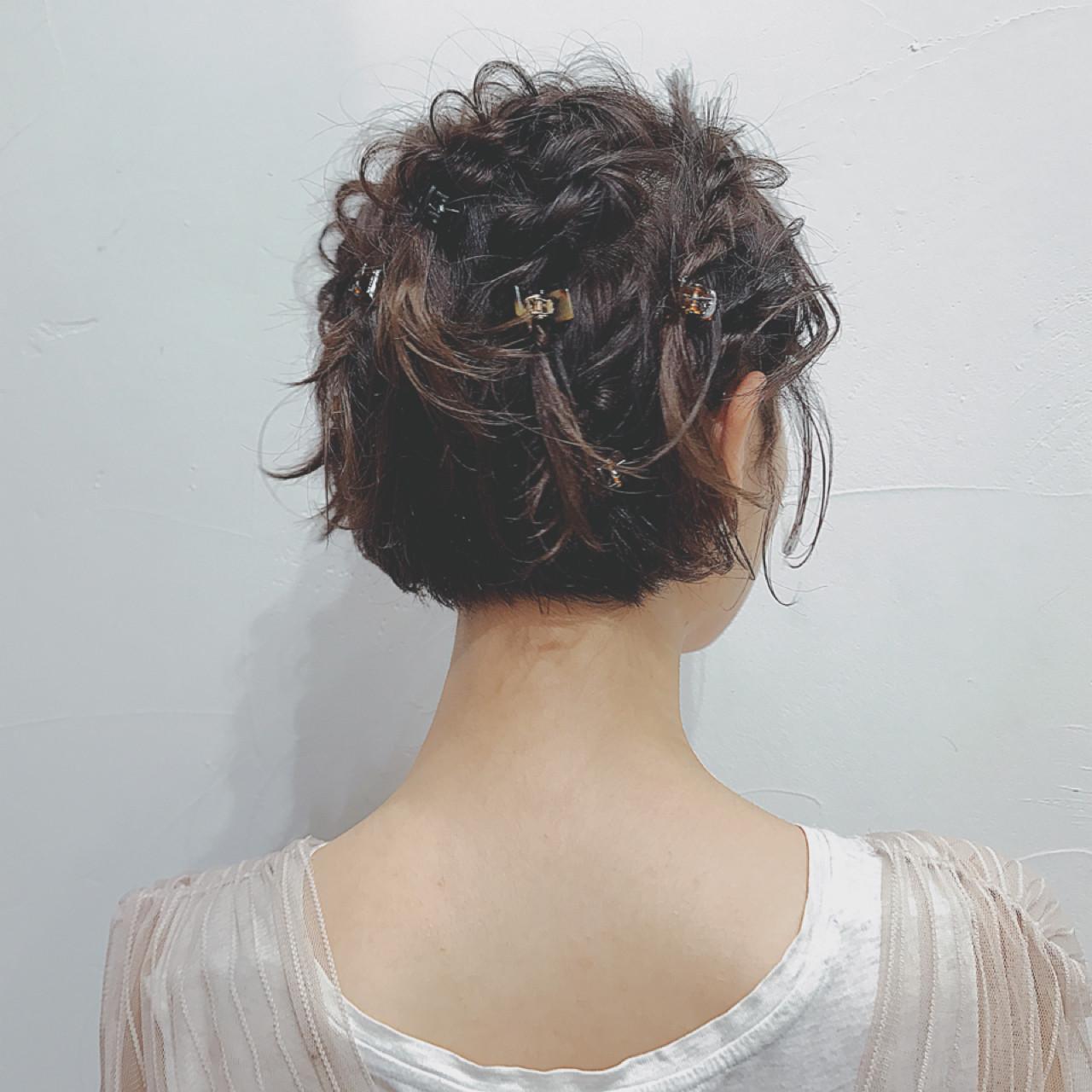 ヘアクリップ 梅雨 ゆるふわ ヘアアレンジ ヘアスタイルや髪型の写真・画像