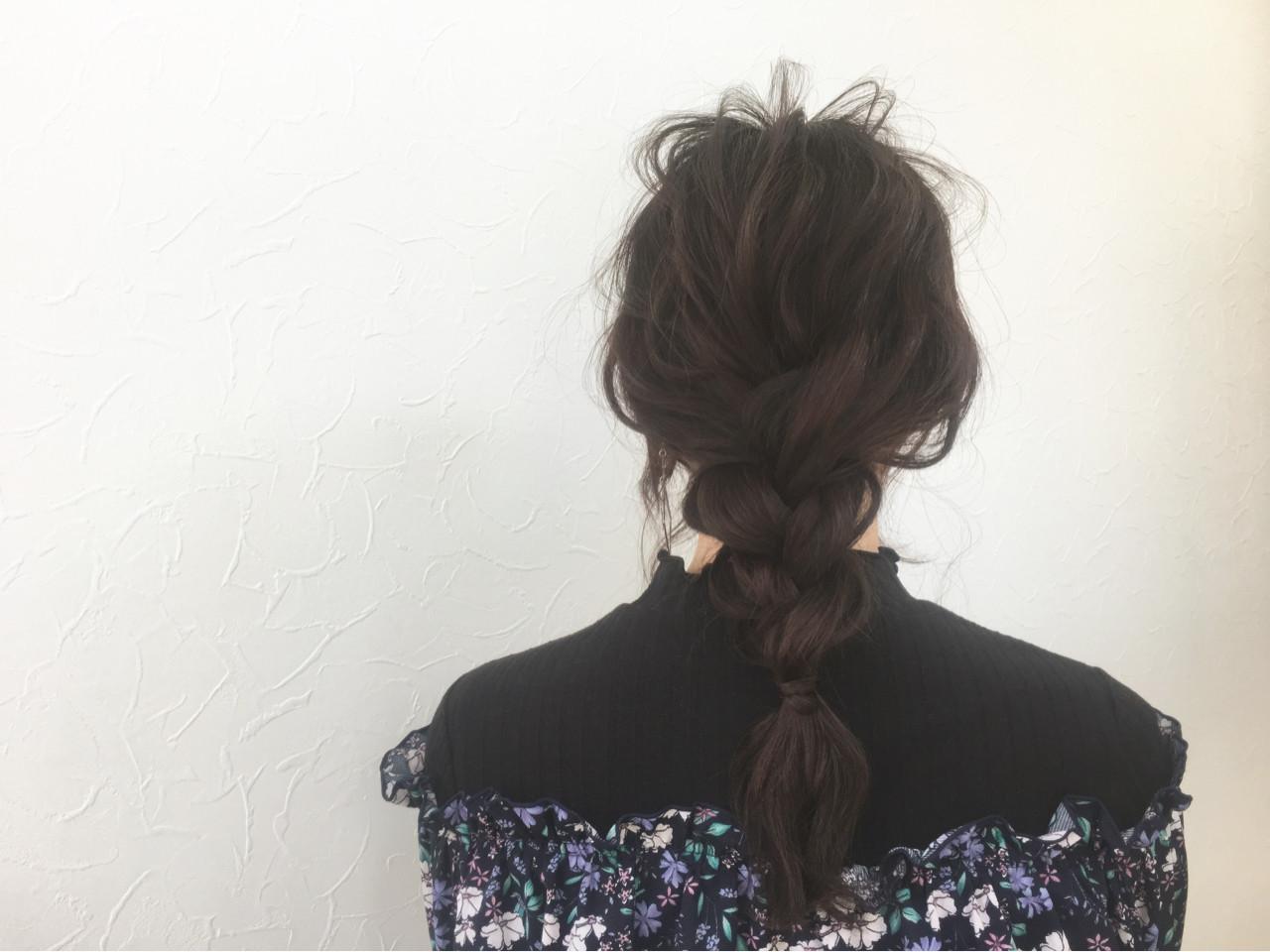 暗髪 簡単ヘアアレンジ ロング 三つ編み ヘアスタイルや髪型の写真・画像