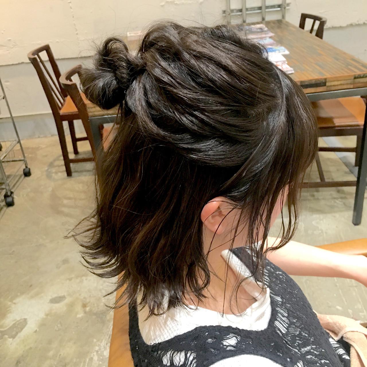 アンニュイ ナチュラル ボブ 簡単ヘアアレンジ ヘアスタイルや髪型の写真・画像